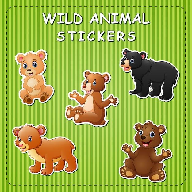 스티커에 귀여운 만화 곰