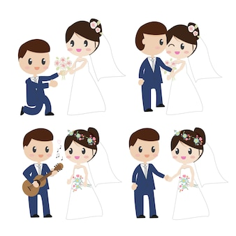 Cute cartoon beautiful bride and groom couples in wedding dress
