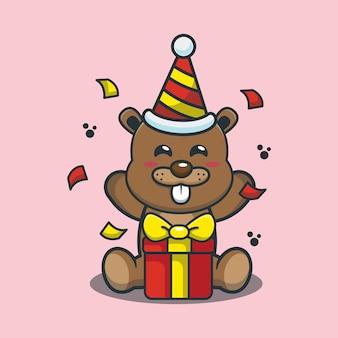Cute cartoon beaver in birthday party