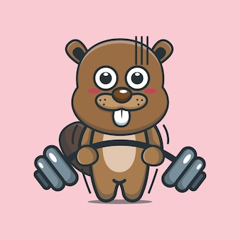 Cute cartoon beaver lifting barbell
