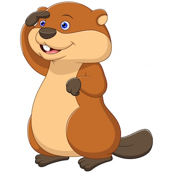 Cute cartoon beaver looking up
