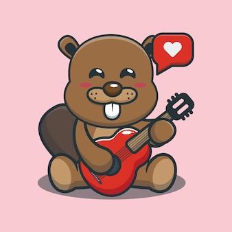 Cute cartoon beaver playing guitar