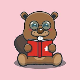 Cute cartoon beaver reading a book
