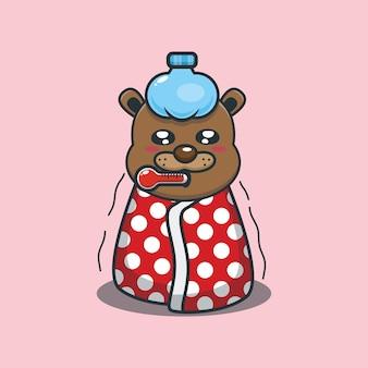 Cute cartoon beaver sick vector illustration