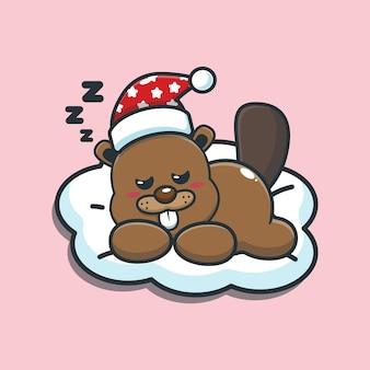 Cute cartoon beaver sleep vector illustration