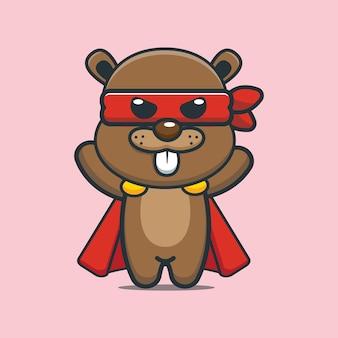 Cute cartoon beaver super hero