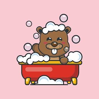 Cute cartoon beaver taking bubble bath in bathtub