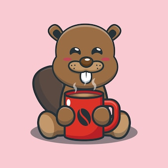 Cute cartoon beaver with hot coffee