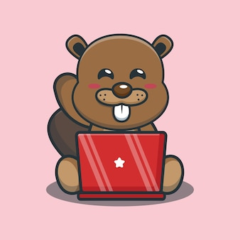 Cute cartoon beaver with laptop
