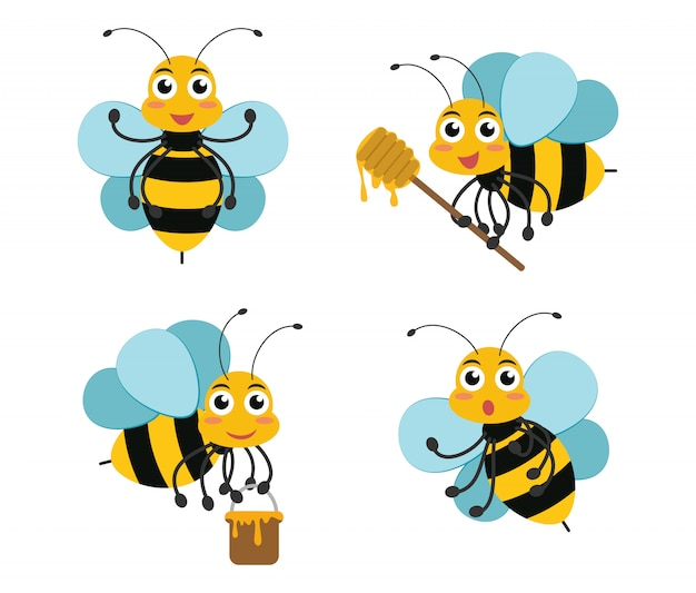 Cute cartoon bee character mascots set
