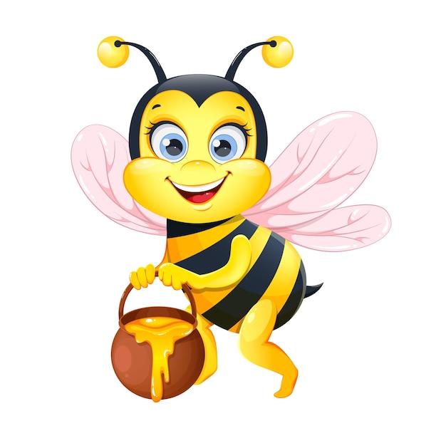 Cute cartoon bee funny honeybee cartoon character