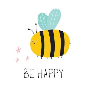행복 한 벡터 평면 그림 글자와 귀여운 만화 꿀벌