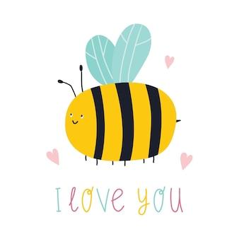 나는 당신을 사랑합니다 글자와 귀여운 만화 꿀벌 벡터 평면 그림