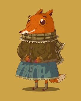 긴 아늑한 가을 산책을 위해 따뜻한 옷을 입은 귀여운 만화 눈이 큰 여우
