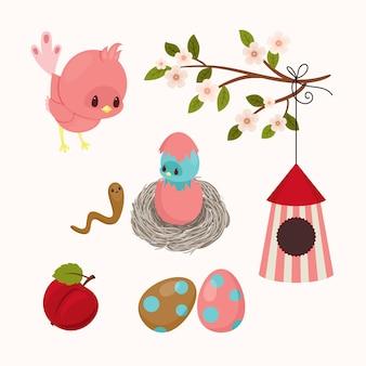 かわいい漫画の鳥のイラスト鳥の家族と鳥の家ベクトルアート
