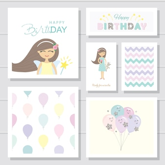 Cute cartoon birthday cards and templates set