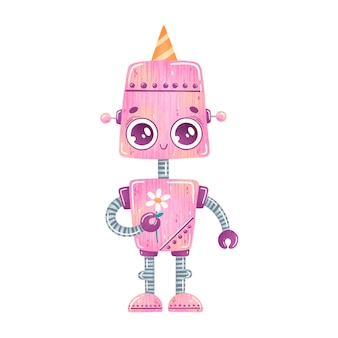귀여운 만화 생일 파티 핑크 로봇 절연
