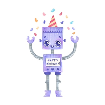 Cute cartoon birthday party purple robot isolated