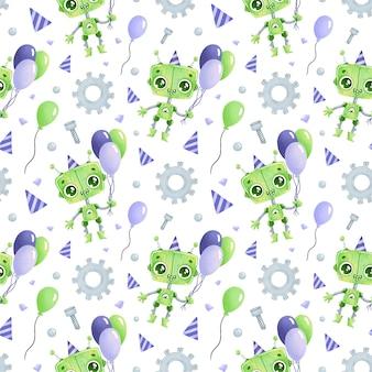 귀여운 만화 생일 로봇 원활한 패턴