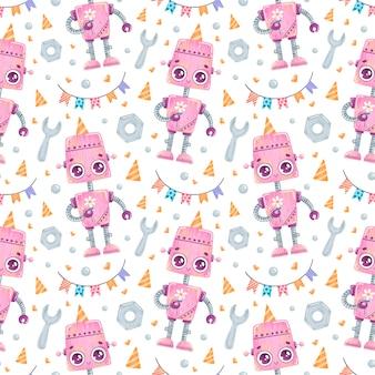 かわいい漫画の誕生日ロボットのシームレスなパターン