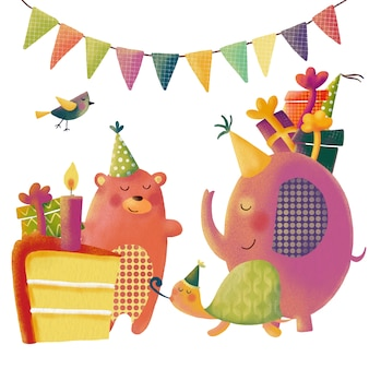 Cute cartoon birthday set with funny animals for greetings