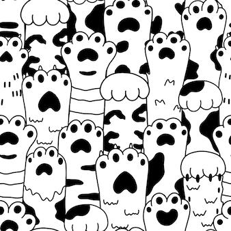 귀여운 만화 흑백 스케치 발 애완 동물 원활한 패턴