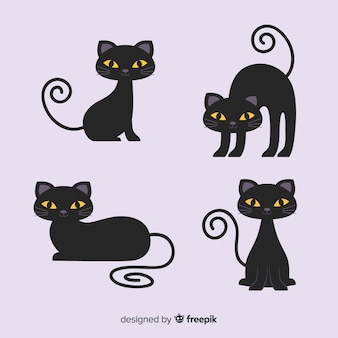 Cute cartoon black cat character