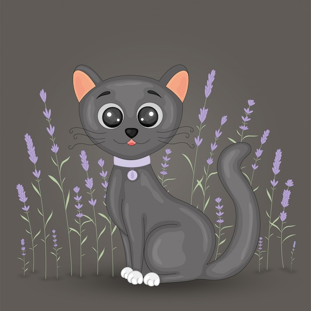 Cute cartoon black cat on floral lavender background. postcard with home kitten with black legs and big eyes.  children s illustration for books.
