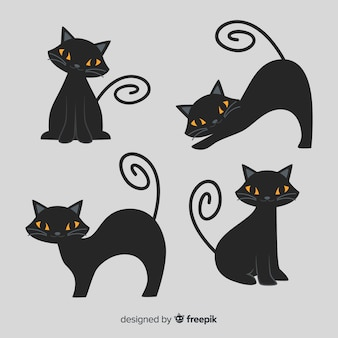 Cute cartoon black cat halloween character
