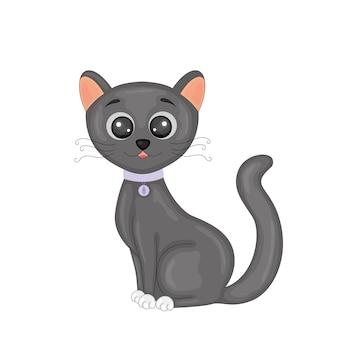 Милый мультфильм черный кот изолированы.