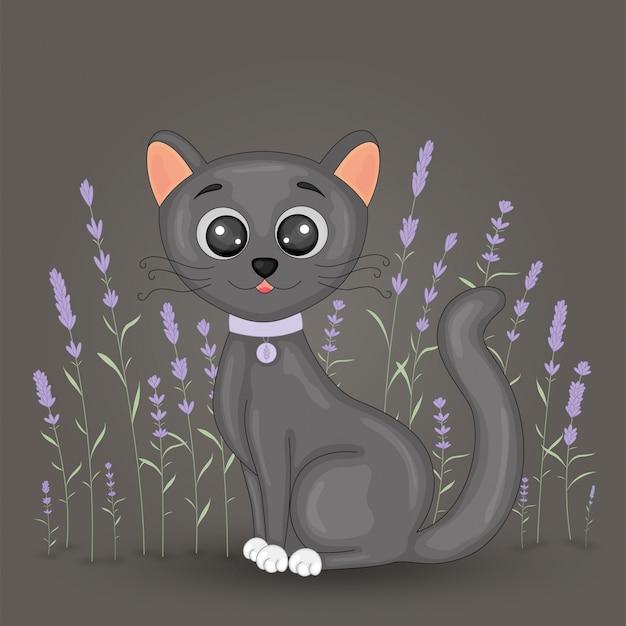 꽃 라벤더 배경에 귀여운 만화 검은 고양이. 검은 다리와 큰 눈을 가진 집 고양이와 엽서. 책에 대한 어린이의 그림.