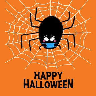 Cute cartoon black spider in blue medical mask with guilty look white cobweb and happy halloween