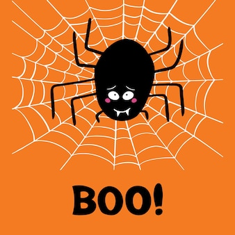 Cute cartoon black spider with guilty look on white cobweb and boo word on orange background. halloween greeting card.