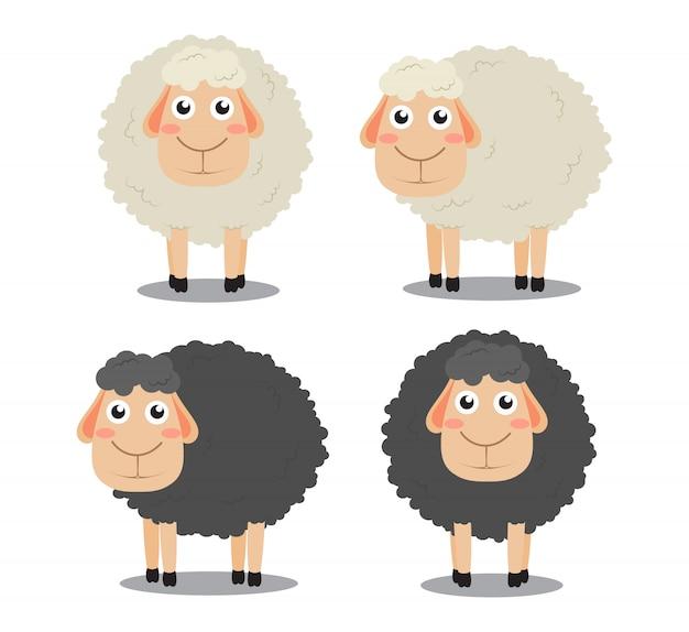 Cute cartoon black and white sheep  set