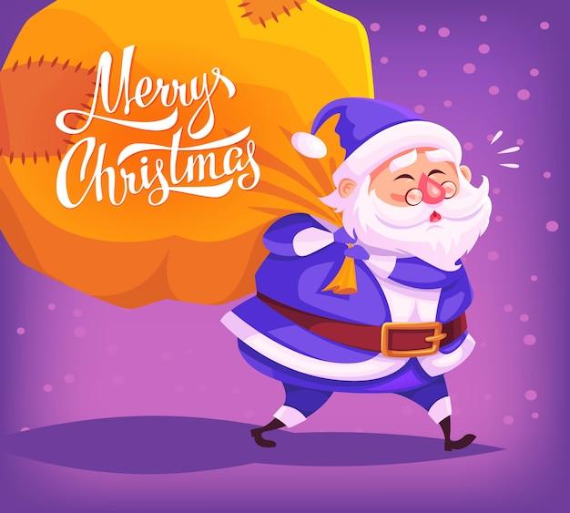 Симпатичный мультяшный синий костюм санта-клауса с доставкой подарков в большой сумке с рождеством