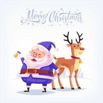 Cute cartoon blue costume santa claus ringing bell and funny reindeer merry christmas illustration.