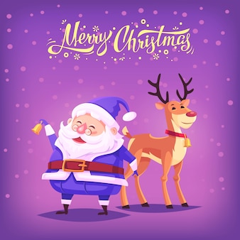Cute cartoon blue costume santa claus ringing bell and funny reindeer merry christmas illustration
