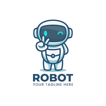 Милый мультфильм синий робот талисман логотип