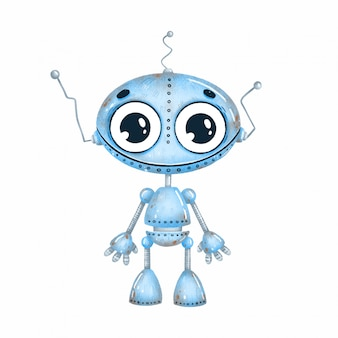 Cute cartoon blue robot with big eyes on a white background