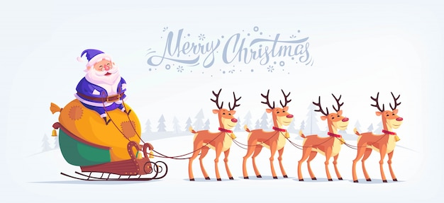 Cute cartoon blue suit santa claus riding reindeer sleigh merry christmas illustration greeting card  horizontal