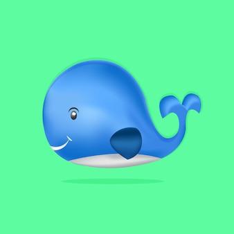귀여운 만화 푸른 고래 디자인