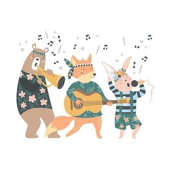 Симпатичные мультяшные богемные животные-музыканты