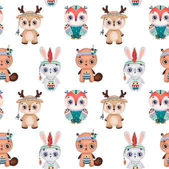 귀여운 만화 boho 동물 원활한 패턴