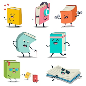 Cute cartoon book character with different emotions and in action icons set