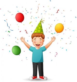 Cute cartoon boy anniversary brithday party.   illustration