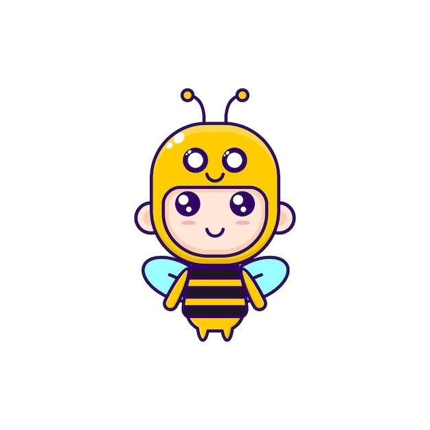 꿀벌 의상을 입고 귀여운 만화 소년