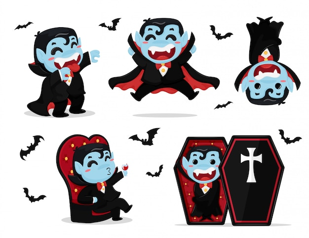 드라큘라 의상을 입고 귀여운 만화 소년 할로윈 파티를 즐기고 있습니다.
