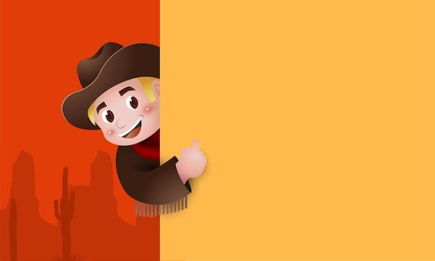 Cute cartoon boy wearing western cowboy costume with big signboard.