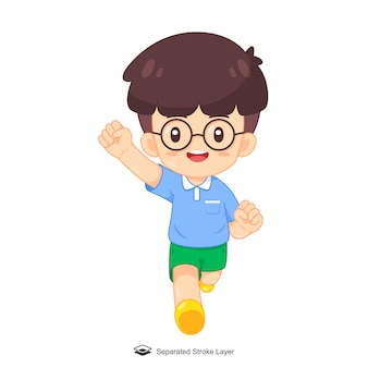 Cute cartoon boy with glasses running