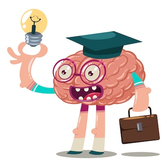 Cute cartoon brain in glasses, a graduate hat with a briefcase and a light bulb in his hand. vector character of an internal organ isolated brainstorm illustration.